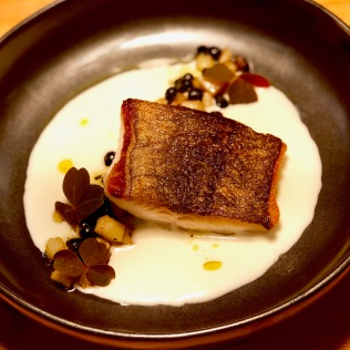 Black Cod black and white, salt cod crema, black chickpeas