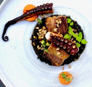 Charred spanish octopus, beluga lentil, kurobuta pork belly fondant, crisped farro and pistachio