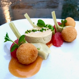 Foie gras torchon, sweet potato croquettes, artichoke, ruby grapefruit, compressed persimmon