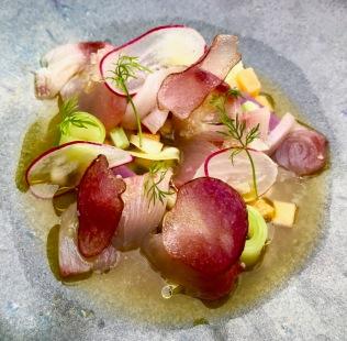 hamachi crudo, pickled persimmon, apple and celery, aji amarillo and epazote chilled tea, purple causa