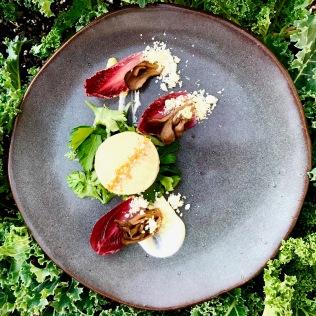 Hudson Valley foie gras torchon, pickled mushroom, point reyes crumbs, tangelo salt