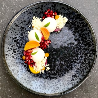 lemon verbena and skyhill goat cheese panna cotta, pickled beets, pomegranated candied kuri, opalys crumbs