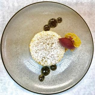 Meyer lemon tart, mulled cabernet sauvignon sorbet