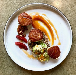 Seared day boat scallops warm ancient grain salad quick persimmon slaw persimmon puree and blood orange gastrique