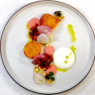 Seared scallops, abalone amatriciana, buffalo mozzarella, apple celery crema
